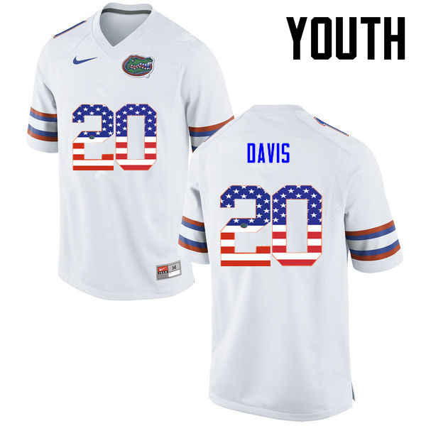 Youth Florida Gators #20 Malik Davis College Football USA Flag Fashion Jerseys-White