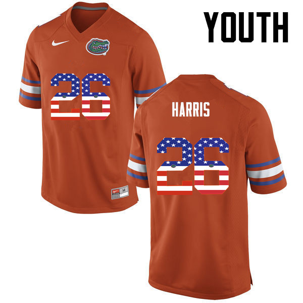 Youth Florida Gators #26 Marcell Harris College Football USA Flag Fashion Jerseys-Orange