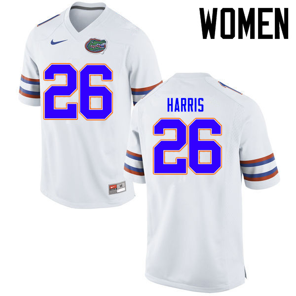 Women Florida Gators #26 Marcell Harris College Football Jerseys Sale-White