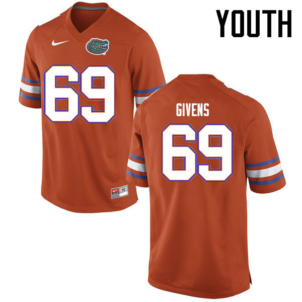 Youth Florida Gators #69 Marcus Givens College Football Jerseys Sale-Orange