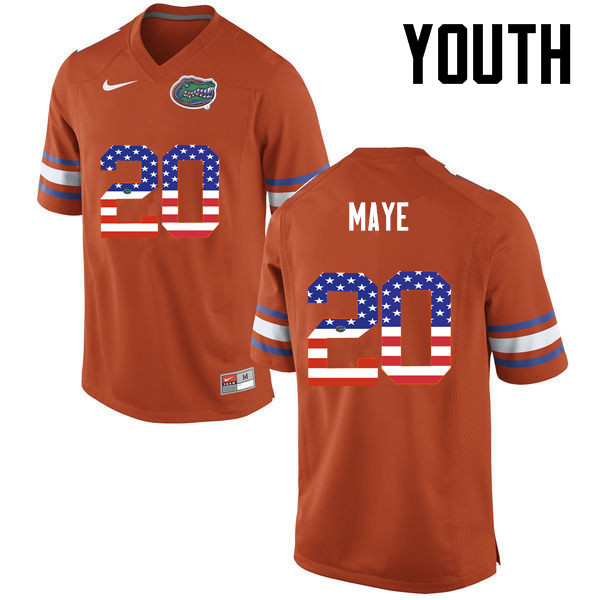 Youth Florida Gators #20 Marcus Maye College Football USA Flag Fashion Jerseys-Orange