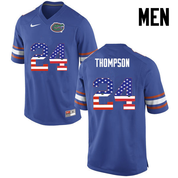 Men Florida Gators #24 Mark Thompson College Football USA Flag Fashion Jerseys-Blue