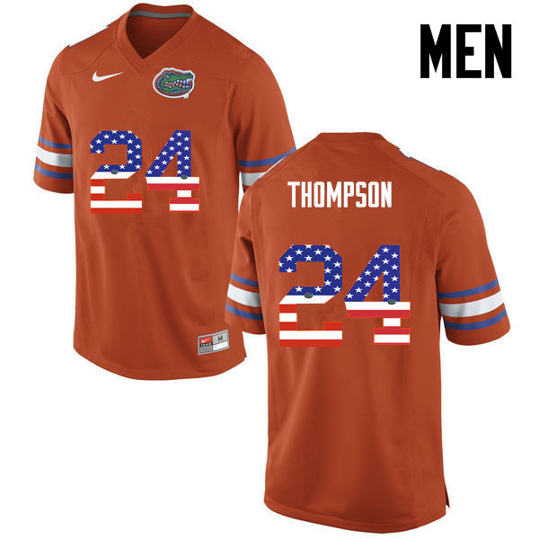 Men Florida Gators #24 Mark Thompson College Football USA Flag Fashion Jerseys-Orange