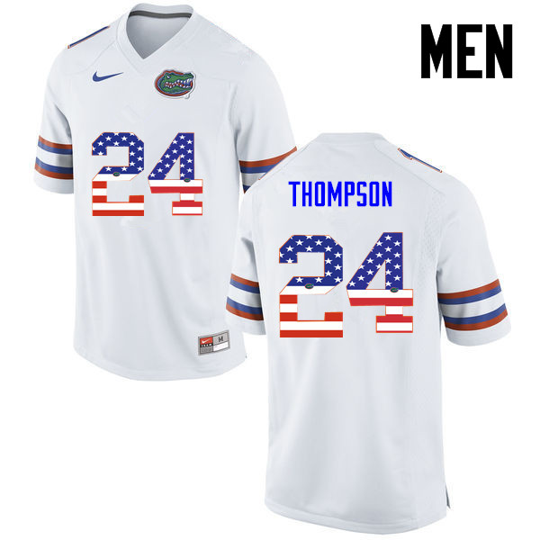 Men Florida Gators #24 Mark Thompson College Football USA Flag Fashion Jerseys-White