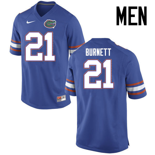 Men Florida Gators #21 McArthur Burnett College Football Jerseys Sale-Blue