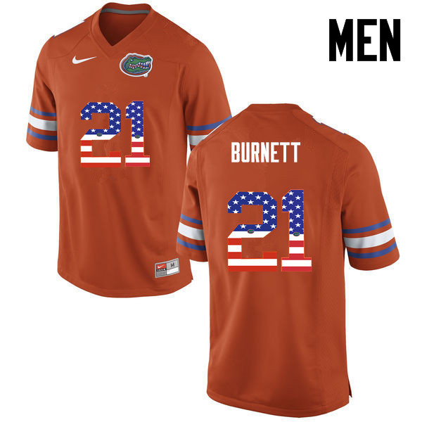 Men Florida Gators #21 McArthur Burnett College Football USA Flag Fashion Jerseys-Orange