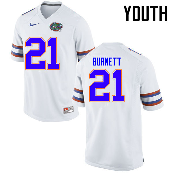 Youth Florida Gators #21 McArthur Burnett College Football Jerseys Sale-White