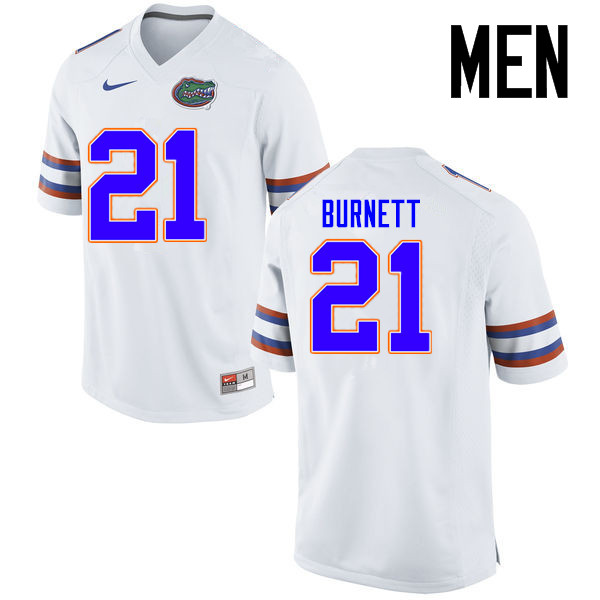 Men Florida Gators #21 McArthur Burnett College Football Jerseys Sale-White