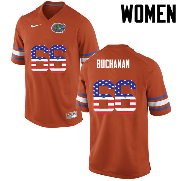 Women Florida Gators #66 Nick Buchanan College Football USA Flag Fashion Jerseys-Orange