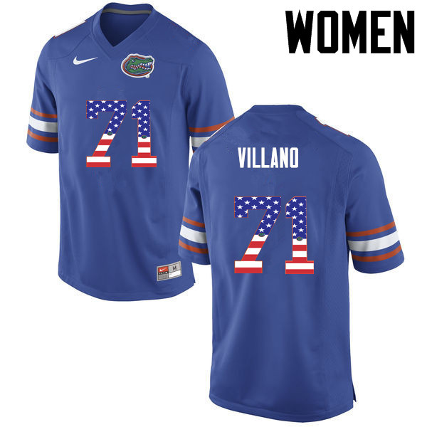 Women Florida Gators #71 Nick Villano College Football USA Flag Fashion Jerseys-Blue