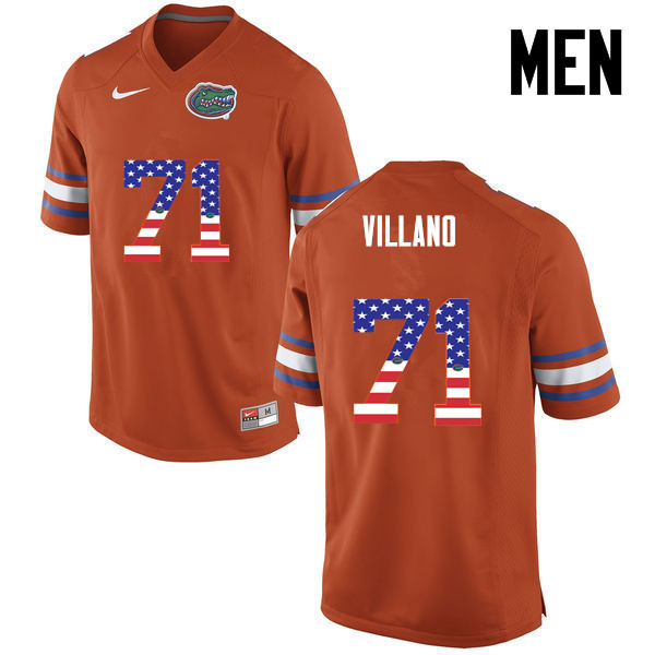 Men Florida Gators #71 Nick Villano College Football USA Flag Fashion Jerseys-Orange