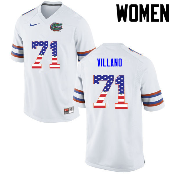 Women Florida Gators #71 Nick Villano College Football USA Flag Fashion Jerseys-White