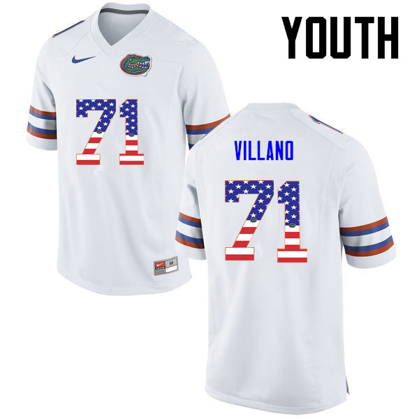 Youth Florida Gators #71 Nick Villano College Football USA Flag Fashion Jerseys-White
