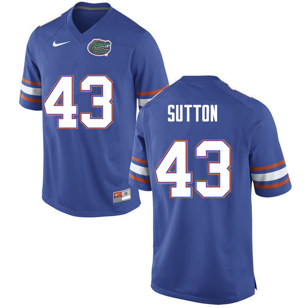 Men #43 Nicolas Sutton Florida Gators College Football Jerseys Sale-Blue