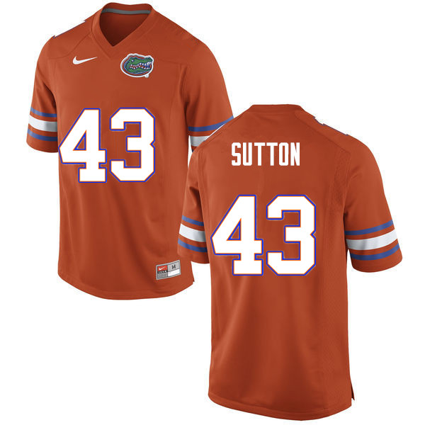 Men #43 Nicolas Sutton Florida Gators College Football Jerseys Sale-Orange
