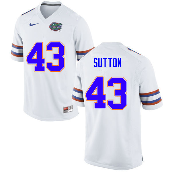 Men #43 Nicolas Sutton Florida Gators College Football Jerseys Sale-White