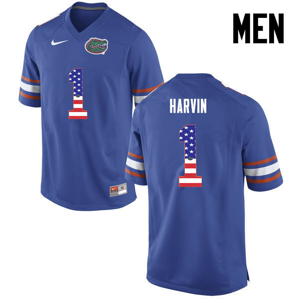Men Florida Gators #1 Percy Harvin College Football USA Flag Fashion Jerseys-Blue