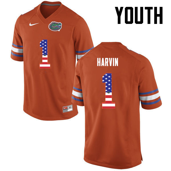 Youth Florida Gators #1 Percy Harvin College Football USA Flag Fashion Jerseys-Orange