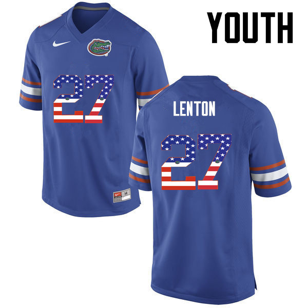 Youth Florida Gators #27 Quincy Lenton College Football USA Flag Fashion Jerseys-Blue