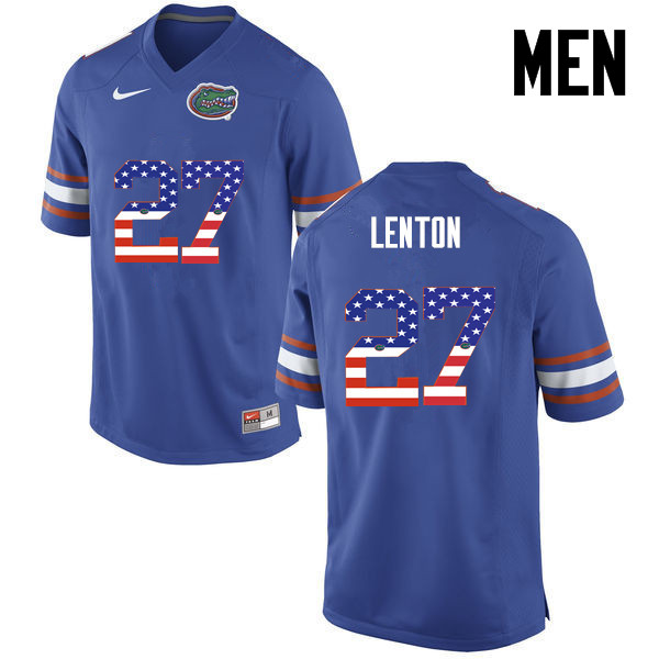 Men Florida Gators #27 Quincy Lenton College Football USA Flag Fashion Jerseys-Blue
