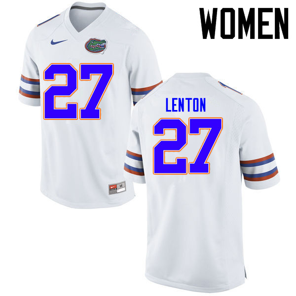 Women Florida Gators #27 Quincy Lenton College Football Jerseys Sale-White
