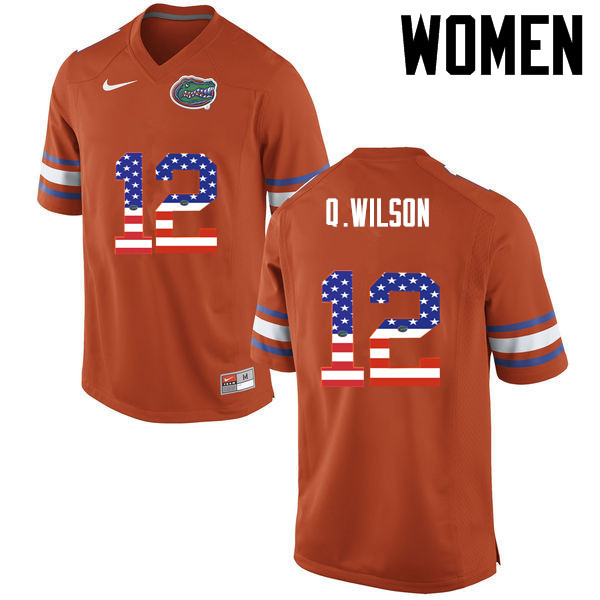 Women Florida Gators #12 Quincy Wilson College Football USA Flag Fashion Jerseys-Orange
