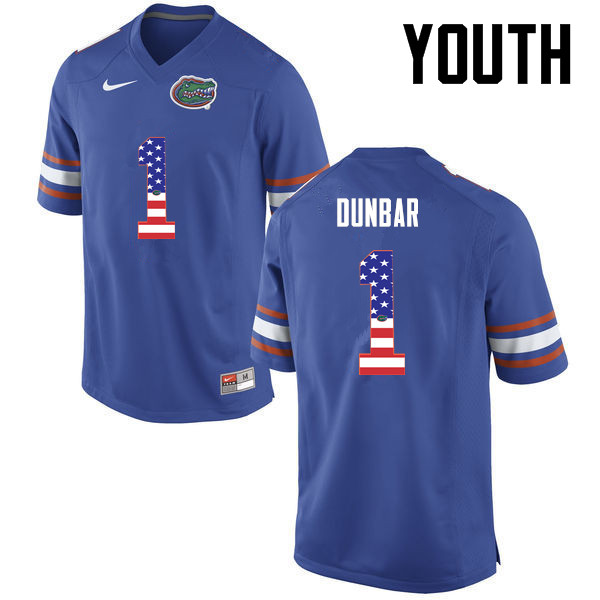 Youth Florida Gators #1 Quinton Dunbar College Football USA Flag Fashion Jerseys-Blue