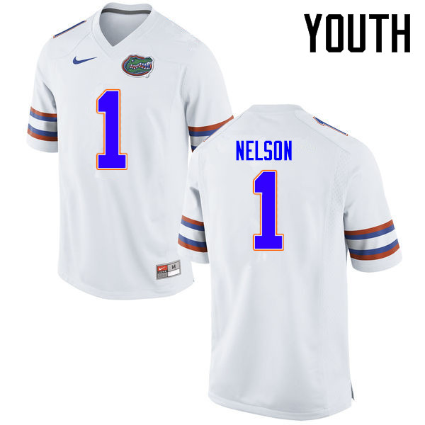 Youth Florida Gators #1 Reggie Nelson College Football Jerseys Sale-White