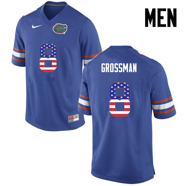 Men Florida Gators #8 Rex Grossman College Football USA Flag Fashion Jerseys-Blue