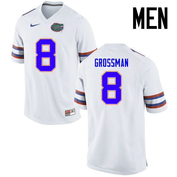 Men Florida Gators #8 Rex Grossman College Football Jerseys Sale-White