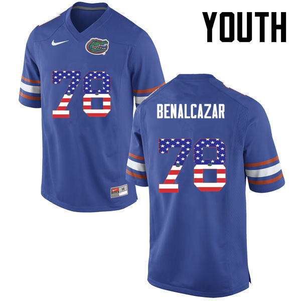 Youth Florida Gators #78 Ricardo Benalcazar College Football USA Flag Fashion Jerseys-Blue