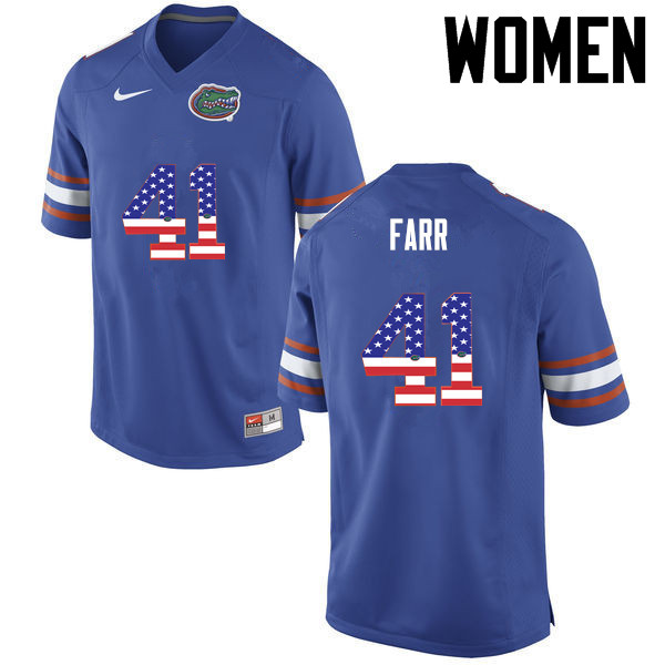 Women Florida Gators #41 Ryan Farr College Football USA Flag Fashion Jerseys-Blue