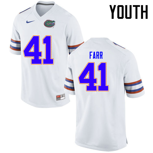 Youth Florida Gators #41 Ryan Farr College Football Jerseys Sale-White
