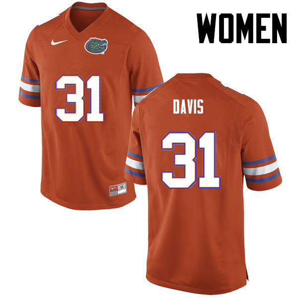 Women Florida Gators #31 Shawn Davis College Football Jerseys-Orange