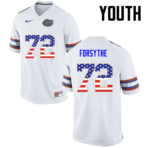 Youth Florida Gators #72 Stone Forsythe College Football USA Flag Fashion Jerseys-White