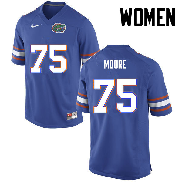 Women Florida Gators #75 TJ Moore College Football Jerseys-Blue