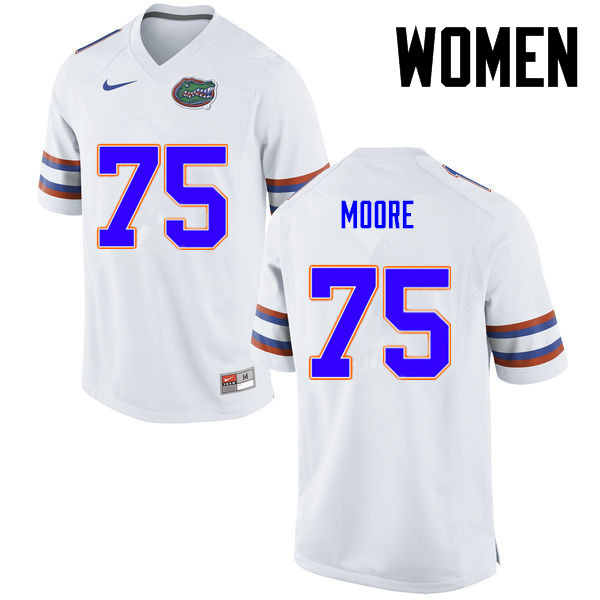 Women Florida Gators #75 TJ Moore College Football Jerseys-White