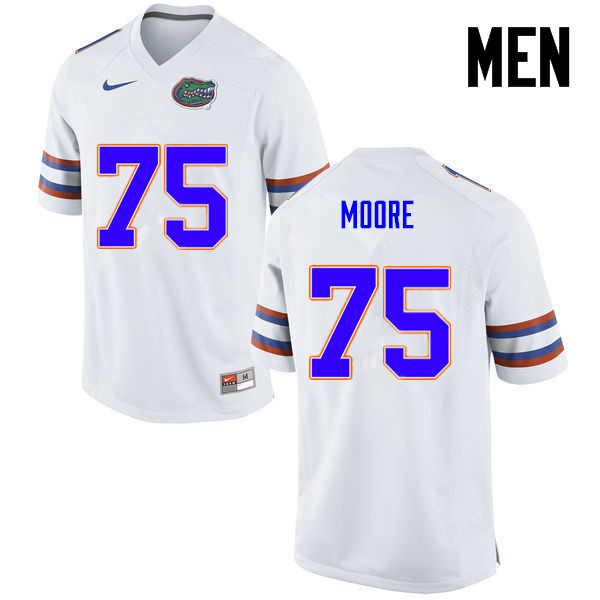 Men Florida Gators #75 TJ Moore College Football Jerseys-White