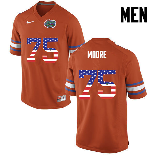 Men Florida Gators #75 TJ Moore College Football USA Flag Fashion Jerseys-Orange