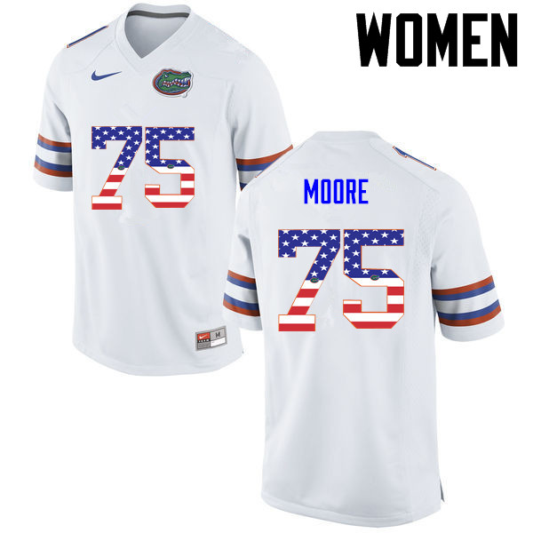 Women Florida Gators #75 TJ Moore College Football USA Flag Fashion Jerseys-White