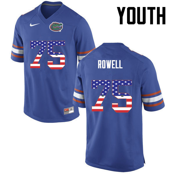 Youth Florida Gators #75 Tanner Rowell College Football USA Flag Fashion Jerseys-Blue