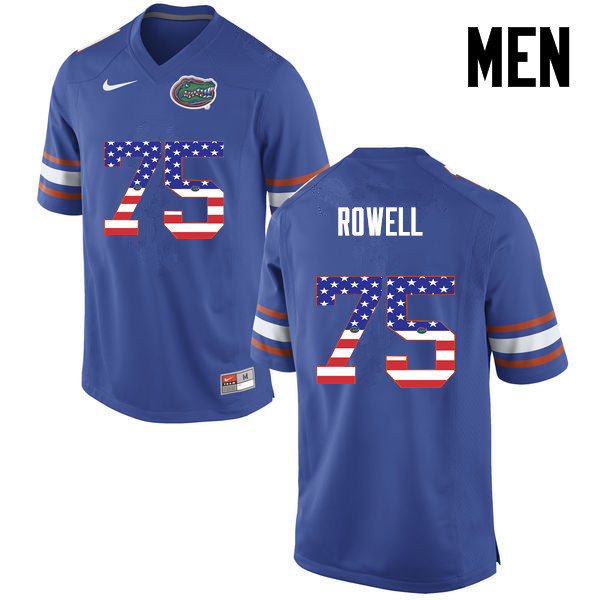 Men Florida Gators #75 Tanner Rowell College Football USA Flag Fashion Jerseys-Blue