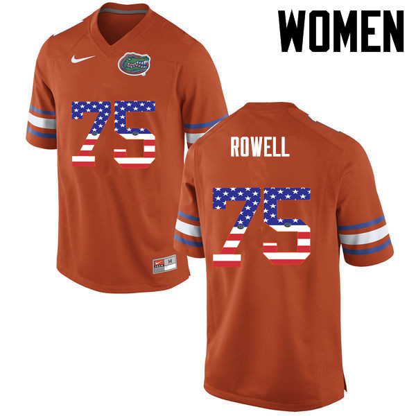 Women Florida Gators #75 Tanner Rowell College Football USA Flag Fashion Jerseys-Orange