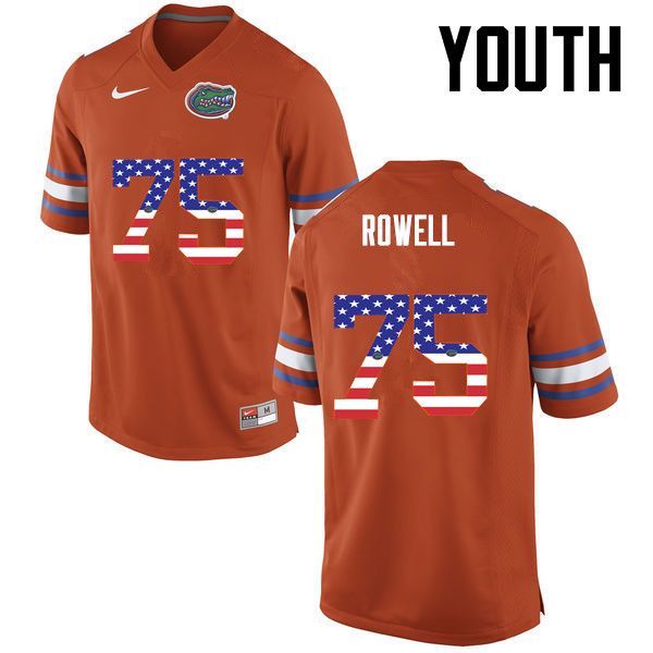 Youth Florida Gators #75 Tanner Rowell College Football USA Flag Fashion Jerseys-Orange
