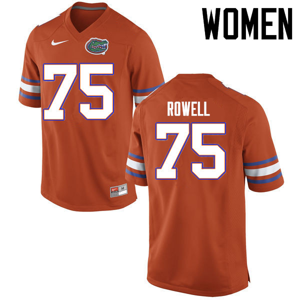 Women Florida Gators #75 Tanner Rowell College Football Jerseys Sale-Orange