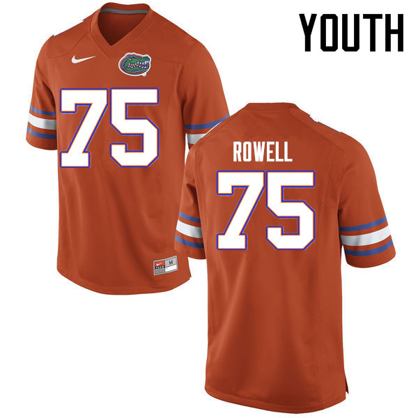 Youth Florida Gators #75 Tanner Rowell College Football Jerseys Sale-Orange
