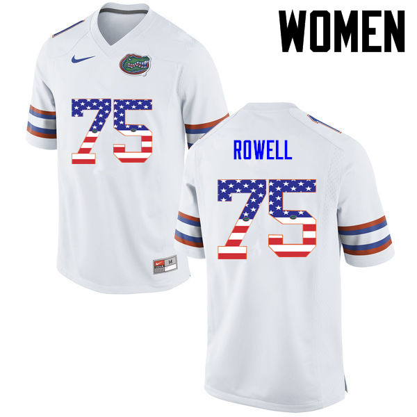 Women Florida Gators #75 Tanner Rowell College Football USA Flag Fashion Jerseys-White