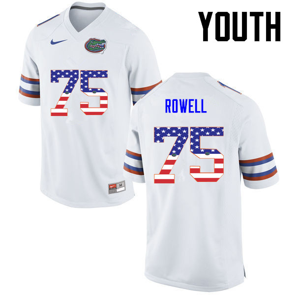 Youth Florida Gators #75 Tanner Rowell College Football USA Flag Fashion Jerseys-White