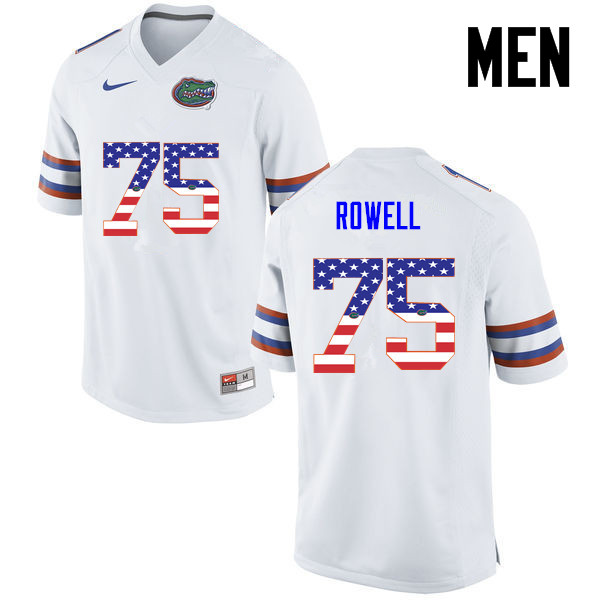 Men Florida Gators #75 Tanner Rowell College Football USA Flag Fashion Jerseys-White
