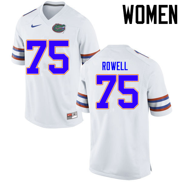 Women Florida Gators #75 Tanner Rowell College Football Jerseys Sale-White